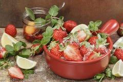 Making strawberry jam. Royalty Free Stock Photography