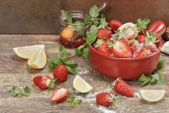 Making strawberry jam. Stock Image