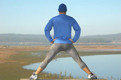 Making stretching movements stock photo