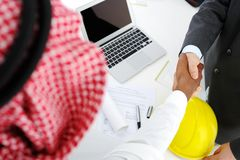 Making a successful deal for building. At Middle east Royalty Free Stock Photo