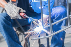 Making sure he`s protected while welding Royalty Free Stock Photos