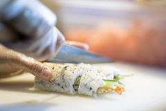 Making sushi in japanese restaurant royalty free stock photos