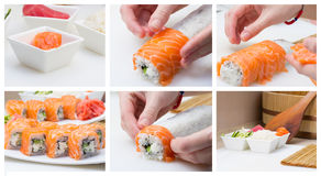 Making sushi roll collage Stock Image