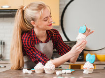 Making sweet dessert masterclass. Cooking at home. Royalty Free Stock Images
