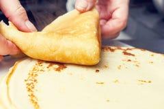 Making sweet pancake Stock Image