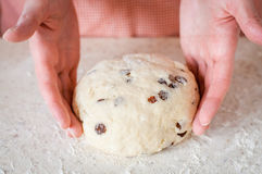 Making Sweet Raisin Dough Royalty Free Stock Photos