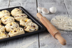 Making Sweet Raisin Dough, Hands Dusting Dough Ball with Flour Stock Photos