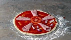 Making tasty italian pizza, timelapse stock video