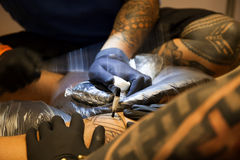 Making tattoo. Detail Royalty Free Stock Photography