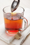 Making tea with tea infuser Stock Images