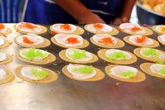 Making thai crispy pancake - cream crepes Royalty Free Stock Images