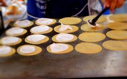 Making thai crispy pancake - cream crepes Stock Images