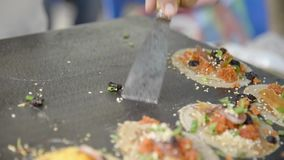 Making of Thai Crispy Pancake stock footage