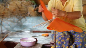 Making of Thai style paper umbrella Royalty Free Stock Photo