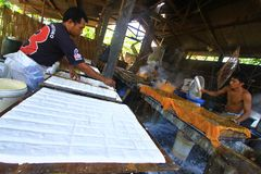 Making tofu, soybean curd. Worker making tofu in Solo, central java, indonesia Stock Photos