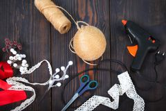 Making a toy for a Christmas tree. Handmade New Year decor. stock images