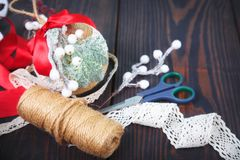 Making a toy for a Christmas tree. Handmade New Year decor. royalty free stock photography