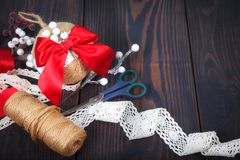 Making a toy for a Christmas tree. Handmade New Year decor. royalty free stock photos