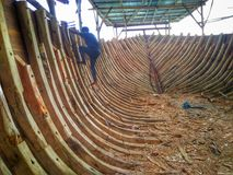 The making of traditional boat Phinisi in Tanaberu, South Sulawesi, Indonesia, Asia. Feels Like Noah`s Ark Royalty Free Stock Photo