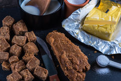Making traditional homemade fudge toffee from ingredients Royalty Free Stock Photography