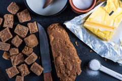 Making traditional homemade fudge toffee from ingredients Royalty Free Stock Photo