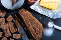 Making traditional homemade fudge toffee from ingredients Royalty Free Stock Photos