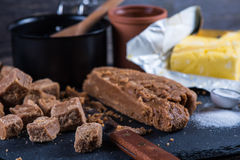Making traditional homemade fudge toffee from ingredients Royalty Free Stock Image