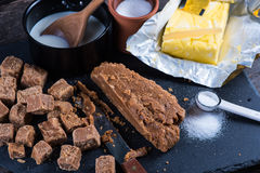 Making traditional homemade fudge toffee from ingredients Stock Photo