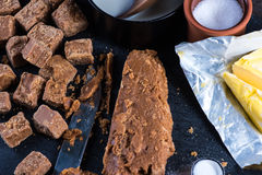 Making traditional homemade fudge toffee from ingredients Stock Photography