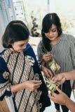 Making traditional ketupat or rice cake stock photography