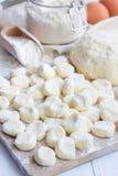 Making traditional russian, ukrainian cottage cheese & x22;lazy& x22; dumplings, raw dumplings on board, vertical Royalty Free Stock Photo