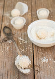 Making truffles white chocolate with coconut. Homemade candy Royalty Free Stock Image