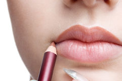 Making Up Lips Contour Stock Photography