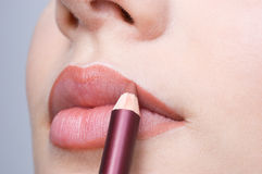 Making Up Lips Contour Stock Images