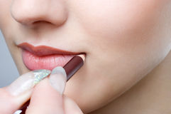Making Up Lips Contour Royalty Free Stock Photo