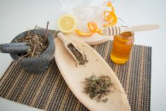Making of valerian infusion tea set. Making of valerian infusion tea detail set in SPA resort royalty free stock photos