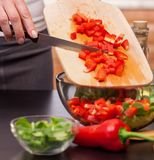Making a vegetable salad - woman chopping red peppers Stock Photography