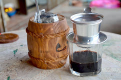 Making vietnam hot coffee drip to glass Stock Image