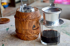 Making vietnam hot coffee drip to glass Royalty Free Stock Photos