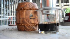 Making vietnam hot coffee stock video