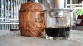 Making vietnam hot coffee stock footage