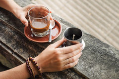 Making of vietnamese coffee Royalty Free Stock Photography