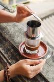 Making of vietnamese coffee Stock Photos