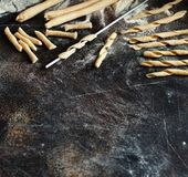 Making whole wheat flour pasta fusilli al ferro. Close up Royalty Free Stock Photos