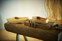 Making wooden shoes Royalty Free Stock Photography