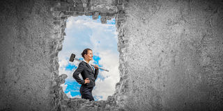 Making your way in business. Mixed media Stock Image
