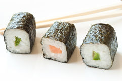 Makis and chopsticks Royalty Free Stock Photos