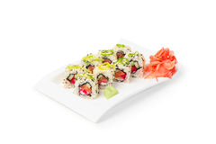 Makisushi op witte plaat - Japanse Keuken Royalty-vrije Stock Afbeeldingen