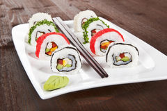 Makizushi. Sushi rolls on white plate. Stock Images