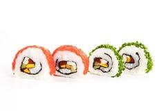 Makizushi. Vier sushibroodjes die op wit worden geïsoleerdk. Royalty-vrije Stock Foto